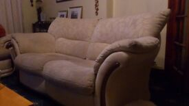 FREE- Two seater cream sofa (fabric) Still Available 15/12/17