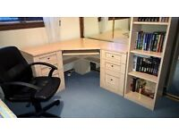 Corner desk with 2 drawer units, tall bookcase & desk chair. Good condition