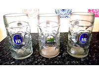 RRP £45 3 x original 1L HB Hofbrauhaus Oktoberfest Dimpled Glass Beer Stein Mug Germany
