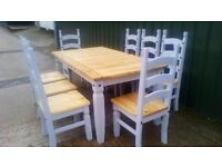 FREE DELIVERY Pine Dining Table And 8 Chairs Farmhouse Country Grey