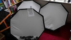 """3 x PiXAPRO 120cm (47"""") Octagonal Softbox Easy Open Bowens S Type with 4cm Grid"""