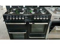 Black A+++ Class Flavel Milano 100cm Wide Gas Range Cooker