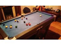 Riley pool table good condition fold away for easy storage size 5x3 comes with balls and cues