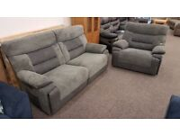 Ex Display SCS Dark Grey Nelson Recliner 3 Seater Sofa & Armchair Can/Del View Collect Hucknall