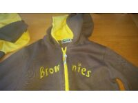 32 inch chest Brownies hoodie and t-shirt.