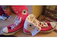 Ladies Size 7 Bright Pink Full High Top Converse Trainers
