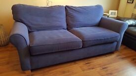 Alstons 3 seater sofa (Blue). Original unused cushions. Non smoking. No Pets. Good condition.