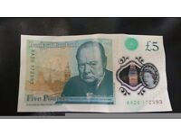 New five pound note £5 AA20