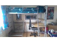 High sleeper with desk and futon