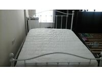 """4'6"""" While Metal Framed Bed with Orthopaedic Mattress"""