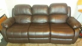 Brown bonded leather recliner sofa 3 seater in good condition. Collection from Bulwell NG6