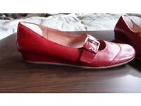 Hush Puppies, red leather, buckle detail. Hardly worn. 6.5