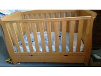 Kiddi Couture Sleigh Cotbed, Mattress with Protector & Next Cot Bedding