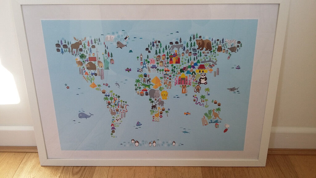 Framed animal world map print perfect for kids bedroomplayroom framed animal world map print perfect for kids bedroomplayroomnursery gumiabroncs Choice Image