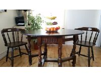 Wood Table With 2 Chairs