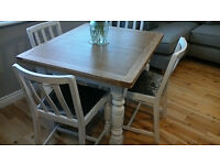 Shabby chic Oak Table & 4 chairs