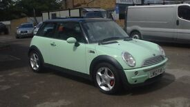 2002 52 Mini One 1.6 Hatchback Panoamic Sunroof Mint Green/Black Roof 12 Months Mot
