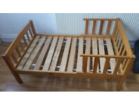 Toddlers bed with guards no mattress , bedframe only