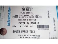 The Script 2 tickets £100 Tuesday 6th Febraury (face value) SOUTH UPPER TIER!!!