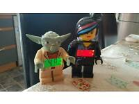 2 x lego alarm clocks yoda and lucy wyldstyle