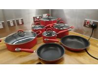 12 Piece Non Stick Sauce Pan, Stockpot and Frying Pans set Red with Silicone Handles and Glass Lids
