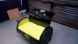 Upcycled batman oil drum/barrel home/garden seating sofa