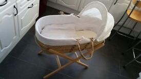 Moses basket and stand with mattress and fittings