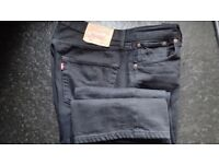 Levi 501 Black Straight Leg Jeans Waist 34 Leg 36 Button Fly - Used