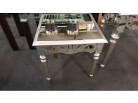 Glass mirror end table
