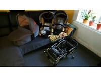 Twin / double ABC Obaby zoom tandem twin pushchair with carrycot