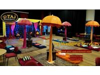 Asian Indian Wedding Mehndi Stages, Backdrops, Decor Marquee Tent Hire, Chair Covers, Wedding Lights