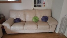 Cream Leather Sofas 3 and 2 seater -Great condition