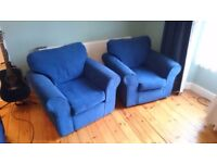 Blue 3 piece suite with Sofa bed -Som'toile