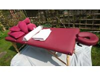 Body Choice Massage Table with bolsters, sheets, couch roll and lots of cushion
