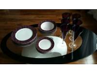 Lovely 18 piece porcelain dinner set and 6 matching wine glasses