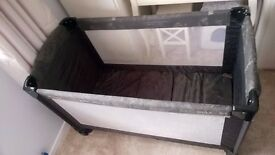 RRP £50 Travel Cot/Bed, Mamas and Papas, extra long, with changing mat.
