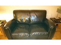 FOR SALE: Leather 3-piece suite, black, 2+2+1, good condition, no rips or tears