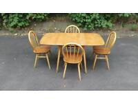 Ercol 1960s rectangular drop leaf table and 4 Windsor hoop back chairs