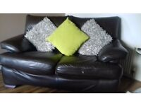Two Seater Brown Leather Couch