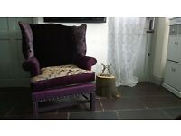 Unique Louis French Wing Armchair Club Tub Accent Bedroom Library Fireside Chair Plum Bronze Purple