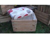 Handmade upcycled refurbished vintage crate footstool storage seat or ottoman