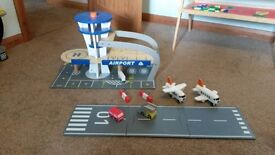 Wooden airport play set.