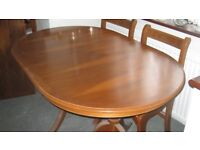 Yew Dining Room Table And Six Chairs