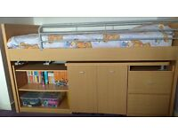 KIDS MID CABIN BED WITH SWING OUT DESK, SHELVES, DRAWERS & CHAIR – SUIT AGE 3+