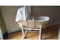 White rocking stand for Moses basket from Mothercare, with basket included