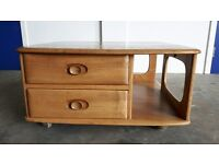 ERCOL PANDORA COFFEE TABLE ELM BLONDE GOLDEN DAWN RETRO VINTAGE DELIVERY AVAILABLE