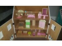 💗 pink & white dolls wooden house 💖