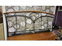 Lovely Black Wrought Iron & Wooden Double Headboard