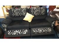 Fabric*3 seater electric recliner plus 2 chairs one reclines*plus footstool*Black and Silver*