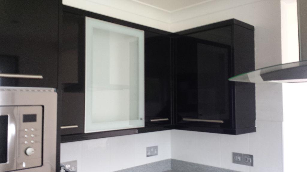 Black Gloss Kitchen Unit Doors End Panels Corniche